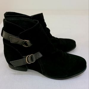 Skechers Black Suede Slouchy Ankle Boots Sz 9